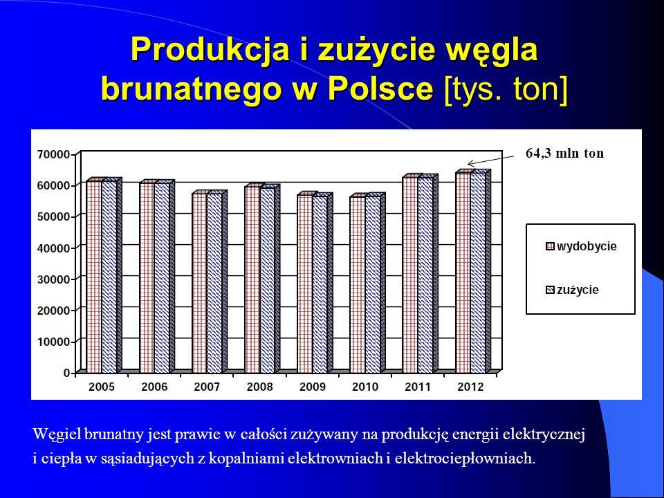 Produkcja i zużycie węgla brunatnego w Polsce [tys. ton]
